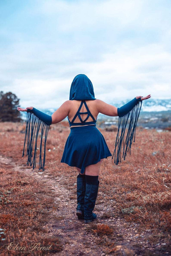 Equilateral Triangle ~ Cowl Hood Crop Top~ Elven Forest, Festival clothing