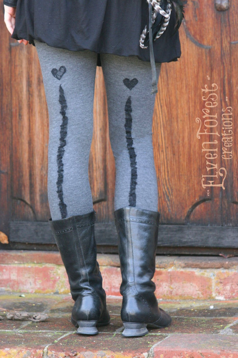 Sweetheart Leggings ~ Elven Forest, Festival clothing, burlesque, gypsy, fairy, pinup, backseam, leggings, tights, fun, romantic, seam,