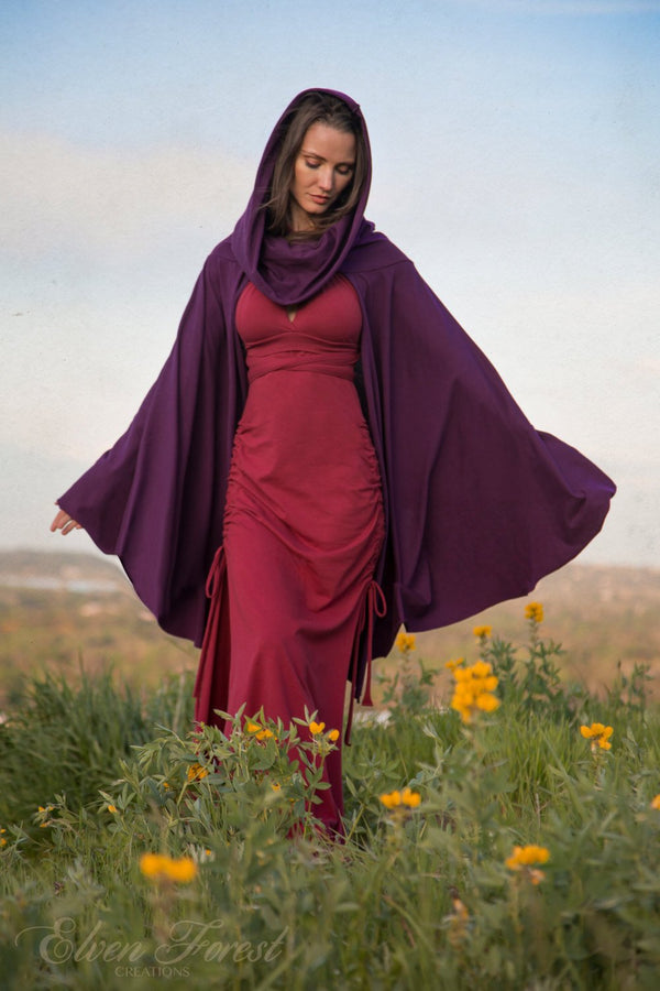 Cape Hoodie ~ long in front, shorter in back ~ Elven Forest, festival clothing, Ren Faire