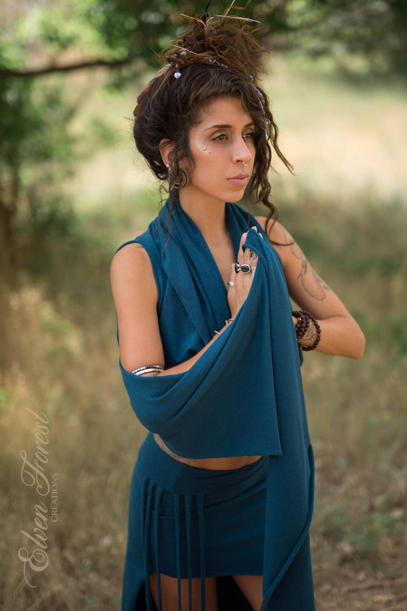 Sari Wrap Cowl Top ~ Elven Forest, Festival clothing, Bohemian, crop top, festival hood, India, Traveler, Gypsy clothing