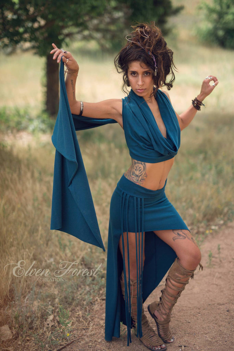 Asymmetrical Shanti Fringe Skirt ~ Elven Forest ~ Festival clothing