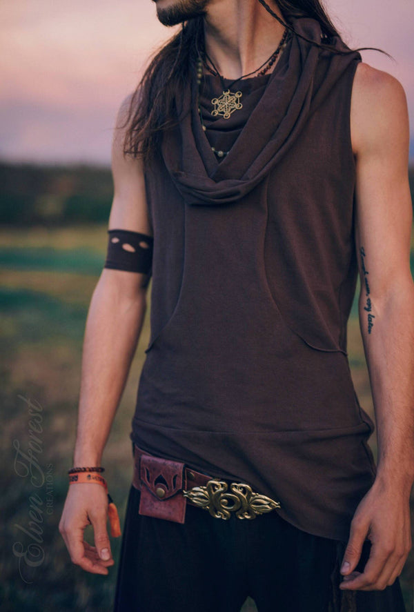 Reversible Bandolier Hoodie ~ Men's Festival Top ~ Elven Forest, mens festival clothing