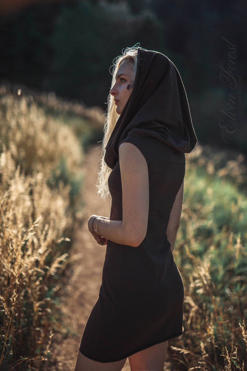 Mini Shanti Hoodie Dress ~ Generous Hood ~ Elven Forest, festival clothing
