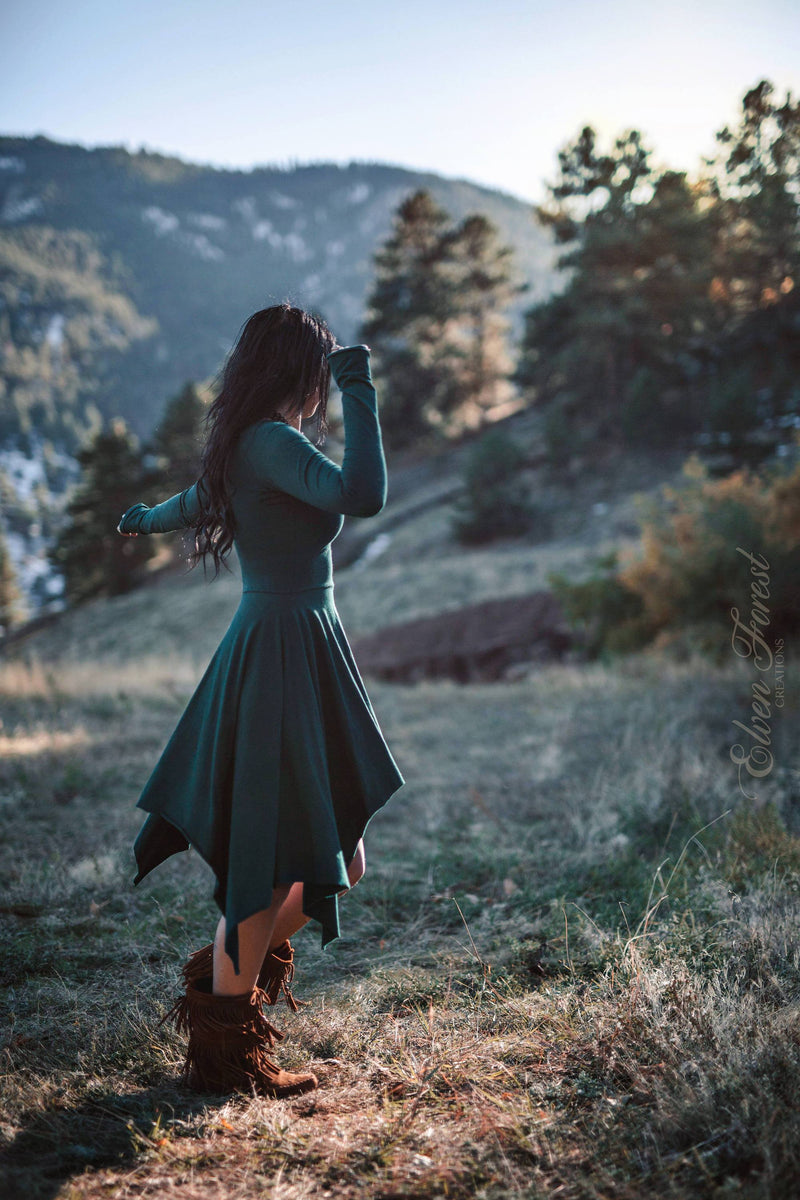 Wonderland Pixie Dress ~ Fit and Flare Pixie Skirt ~ Long Sleeves and Thumbholes ~ Elven Forest, Winter dress