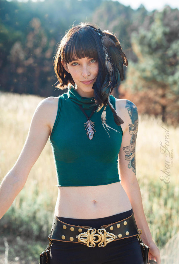 Daisy Parade Crop Top ~ Turtleneck, Elven Forest, Festival top