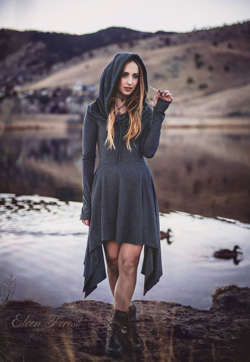 Wonderland Hooded Pixie Dress ~ Cowl Hood version ~ long sleeves and thumbholes ~ Elven Forest ~ Winter Dress
