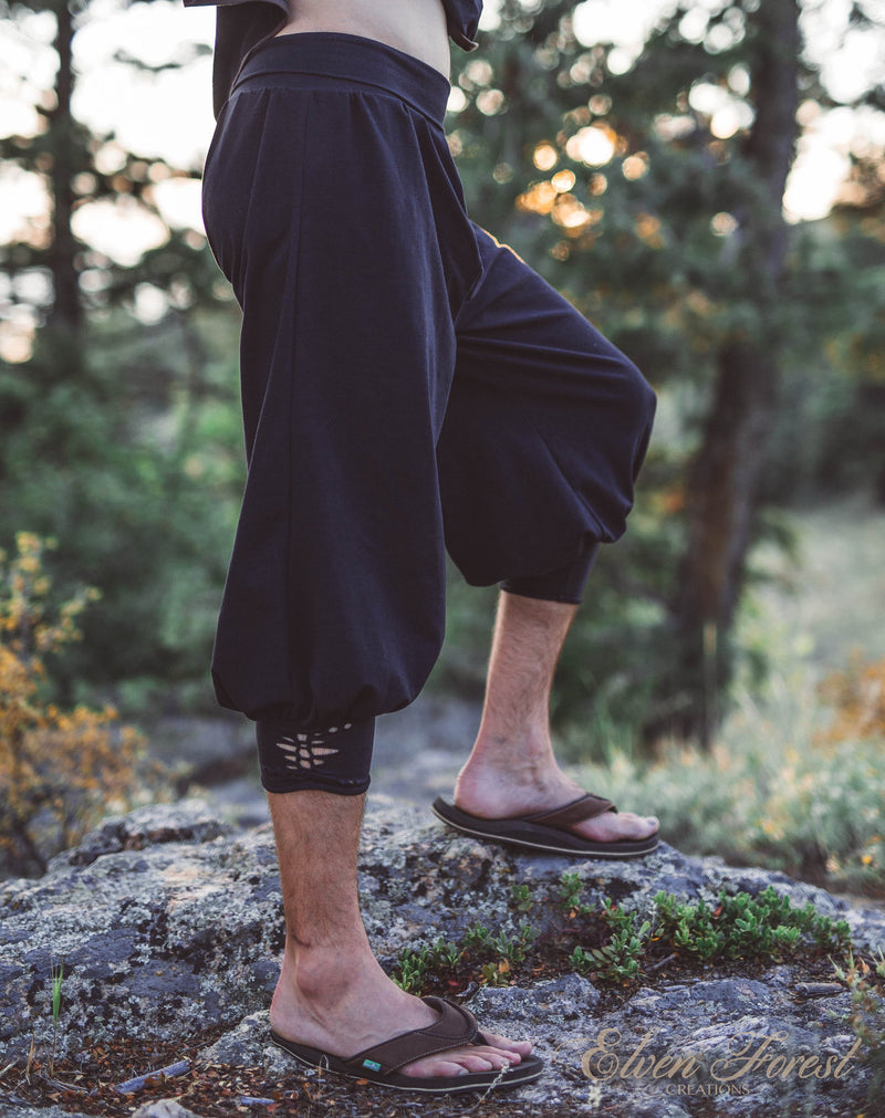 Dastan Pants ~ Men's Yoga,  Martial Arts and Parkour Pants ~ Elven Forest, mens festival clothing