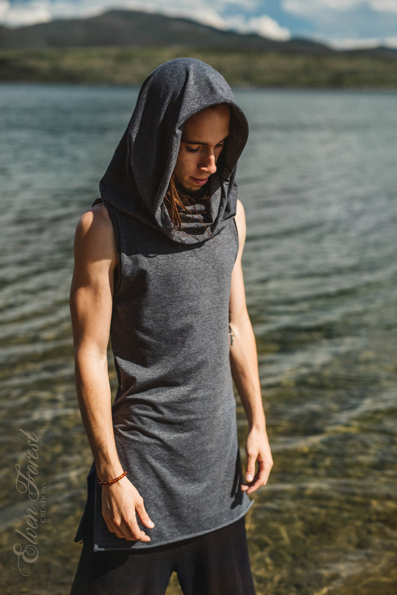Sands of Time Hoodie ~ Men's Festival Top ~ Elven Forest, mens festival clothing