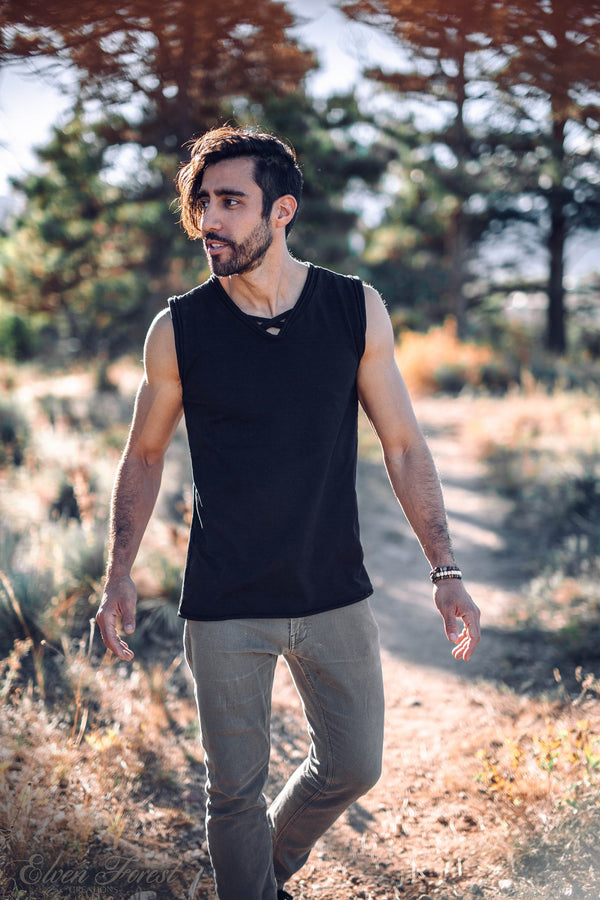 Triangle Geometry Cut Out Top ~ Men's Festival Top ~ Elven Forest, mens festival clothing