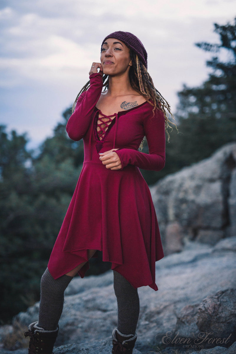 Velvet Lace-Up Pixie Dress ~ Fit and Flare Pixie Skirt ~ Long Sleeves and Thumbholes ~ Elven Forest, Winter dress