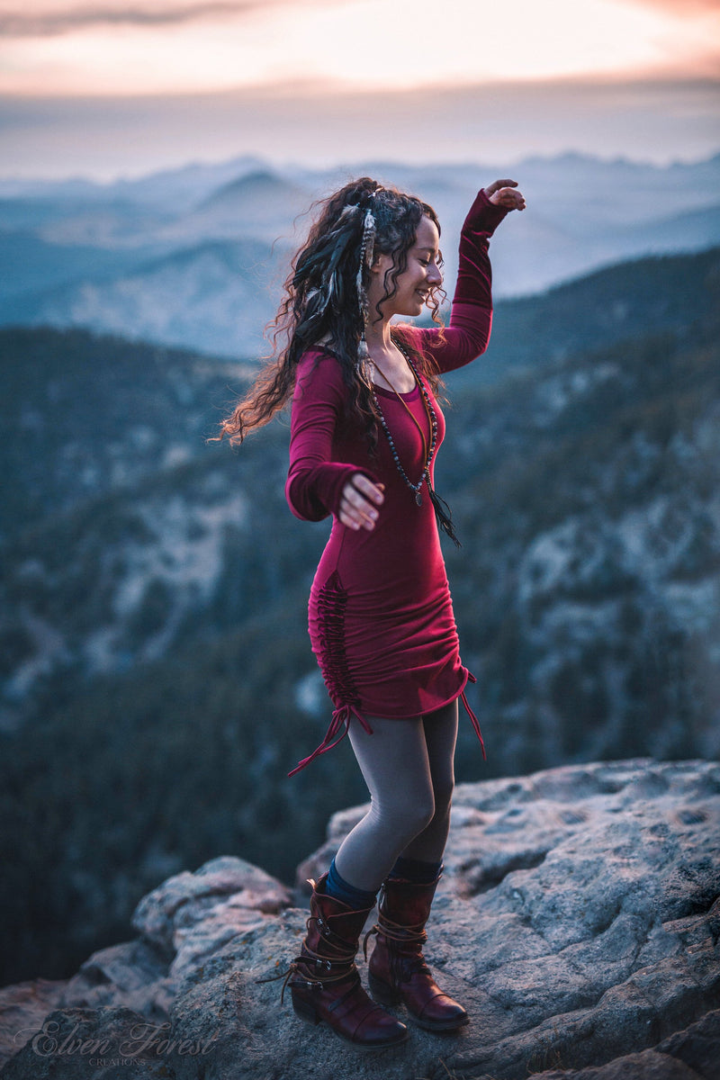 Velvet Accent Winter Dress with Scoop neck ~ Elven Forest, bohemian dress, free spirit clothing, pixie, tunic, fairytale love