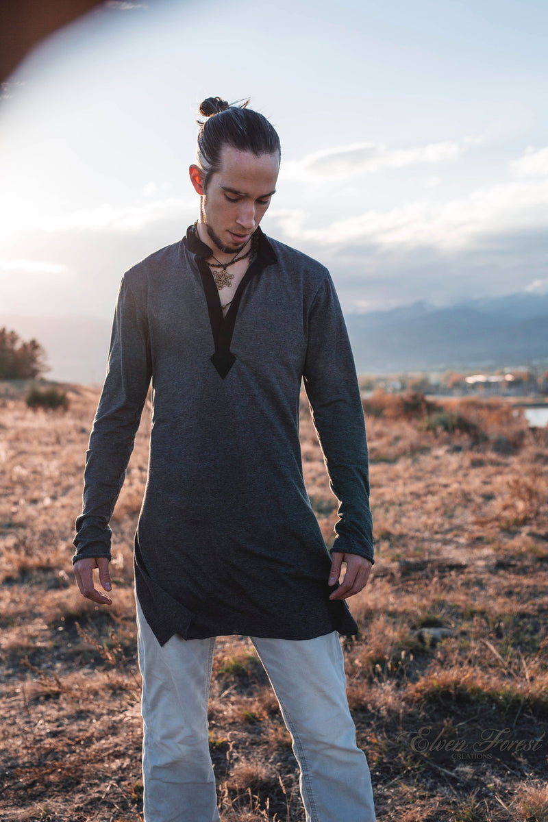 Long Sleeved Kurta ~ Men's Top ~ Elven Forest, mens festival clothing