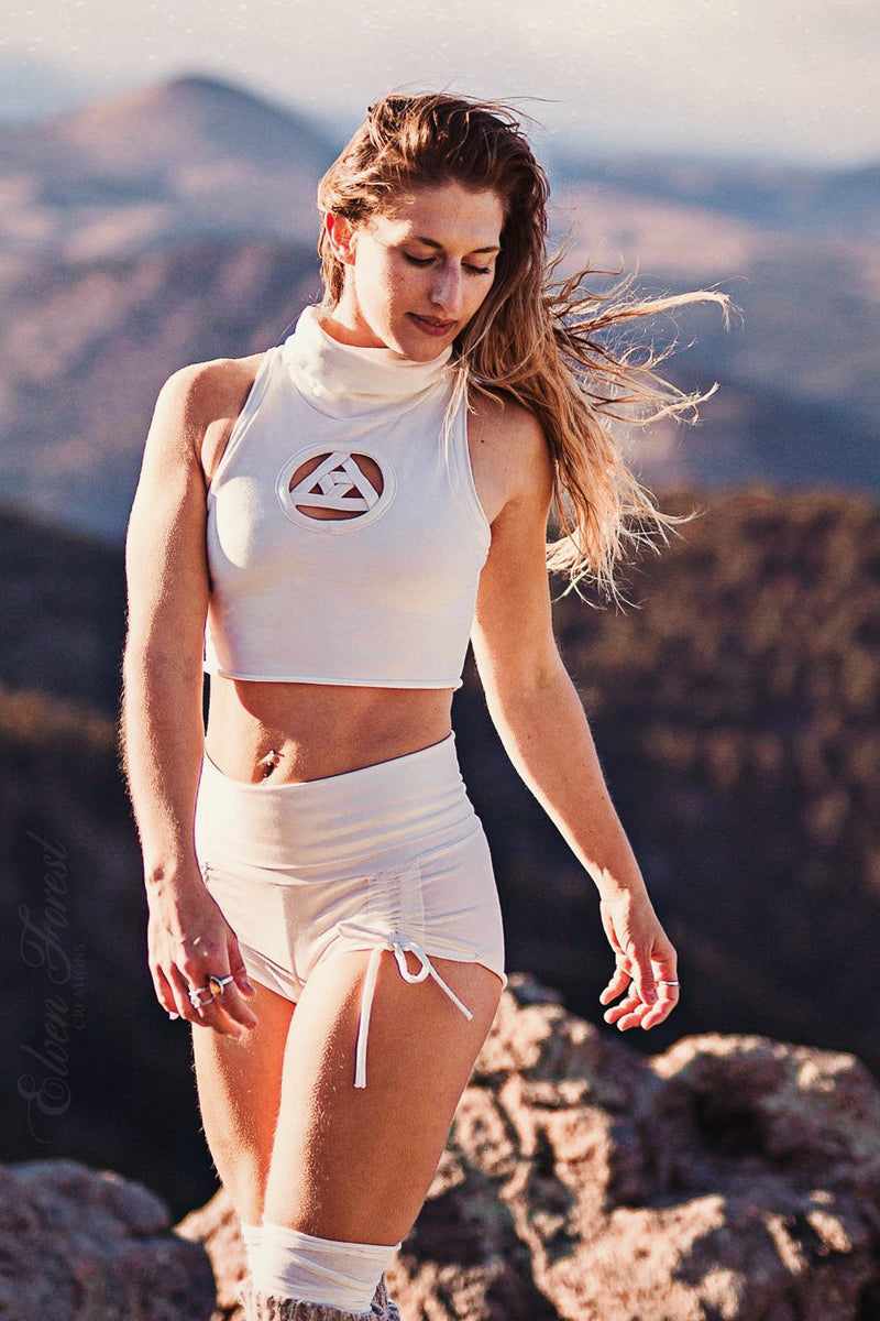 Little Scrunchie Yoga and Performance Shorts ~ Elven Forest, Festival Clothing, Adventure Clothing