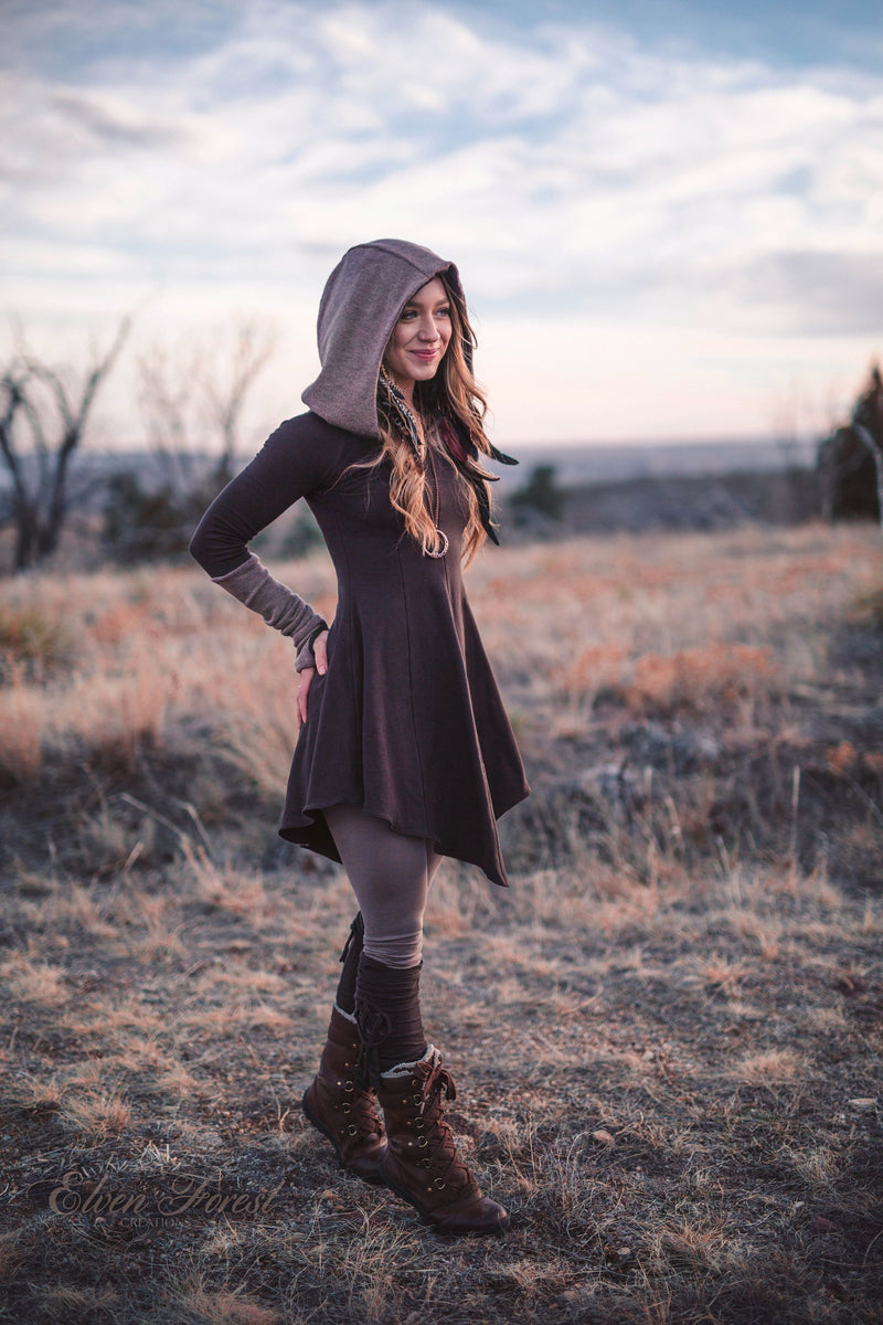 Sweater Warmer Dress ~ Structured Hood with arm warmers and thumbholes ~ Elven Forest ~ Winter Dress