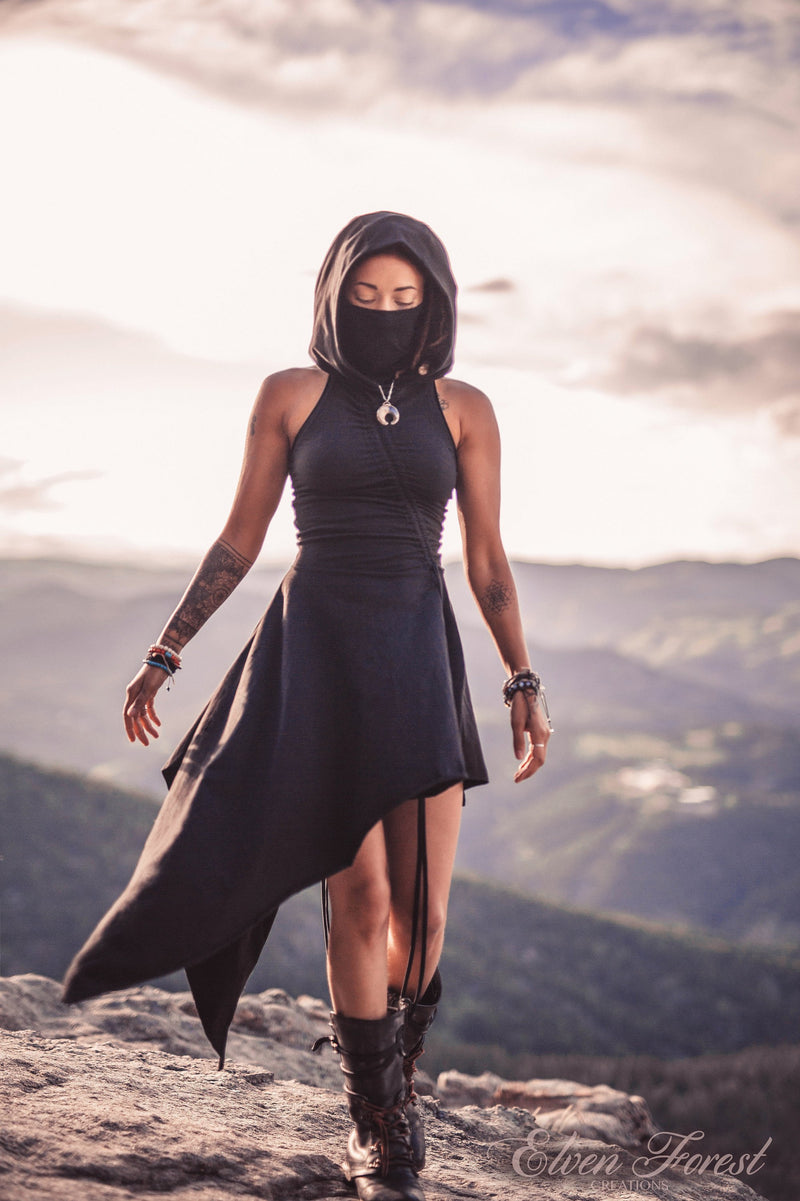 Desert Walker Dress ~ Dusk Mask Hoodie Dress ~ Elven Forest ~ Burning Man Costume, Post Apocalyptic, Festival Clothing