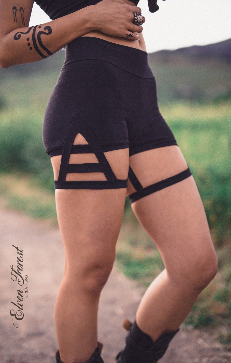 Triangle Garter Shorts ~ Elven Forest ~ Festival Clothing, Bohemian, Love