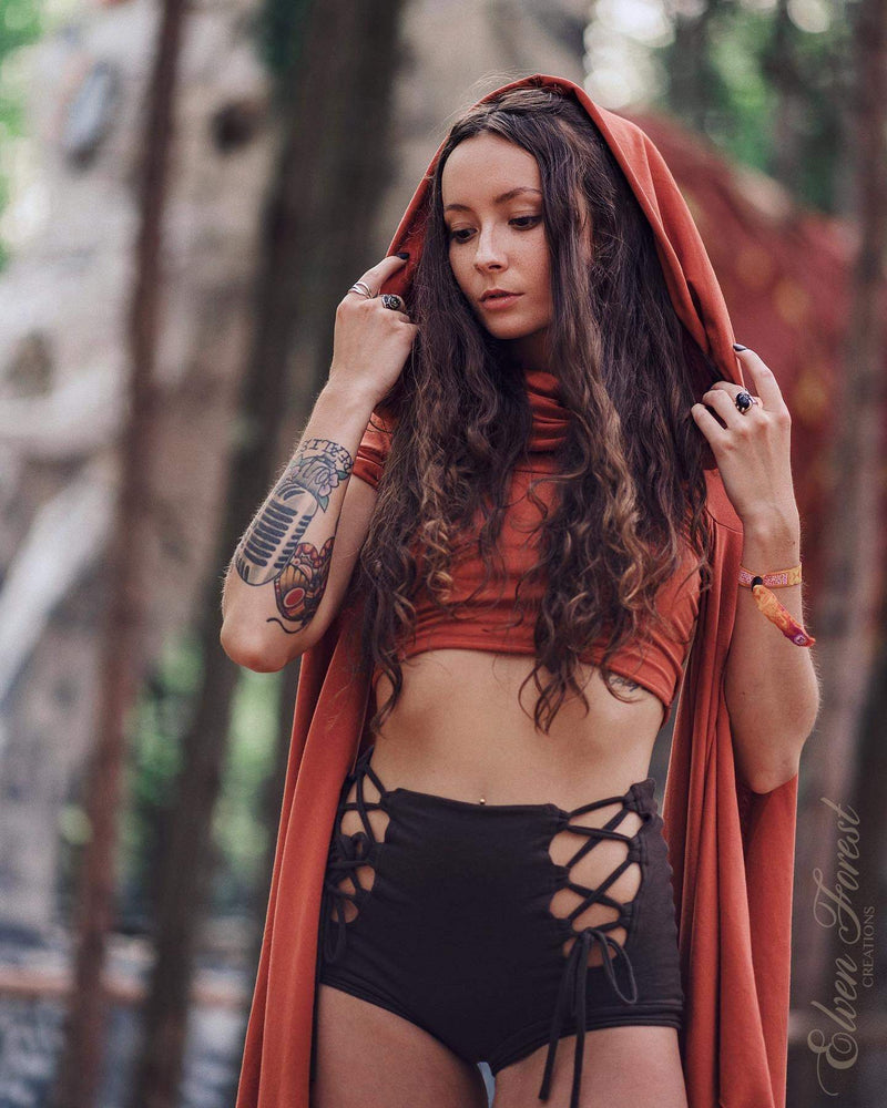 Lace up Front Shorts ~ Elven Forest, Festival Clothing, Burning Man costume, Ren Faire, Goddess wear