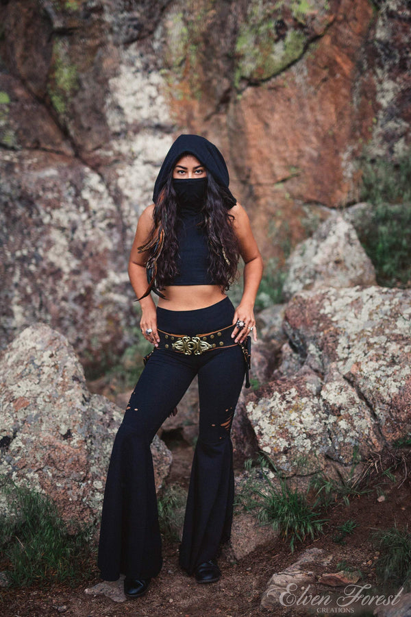 Dust Mask Hoodie ~ Crop Top ~ Elven Forest, festival clothing, ninja clothes, flow clothes, love