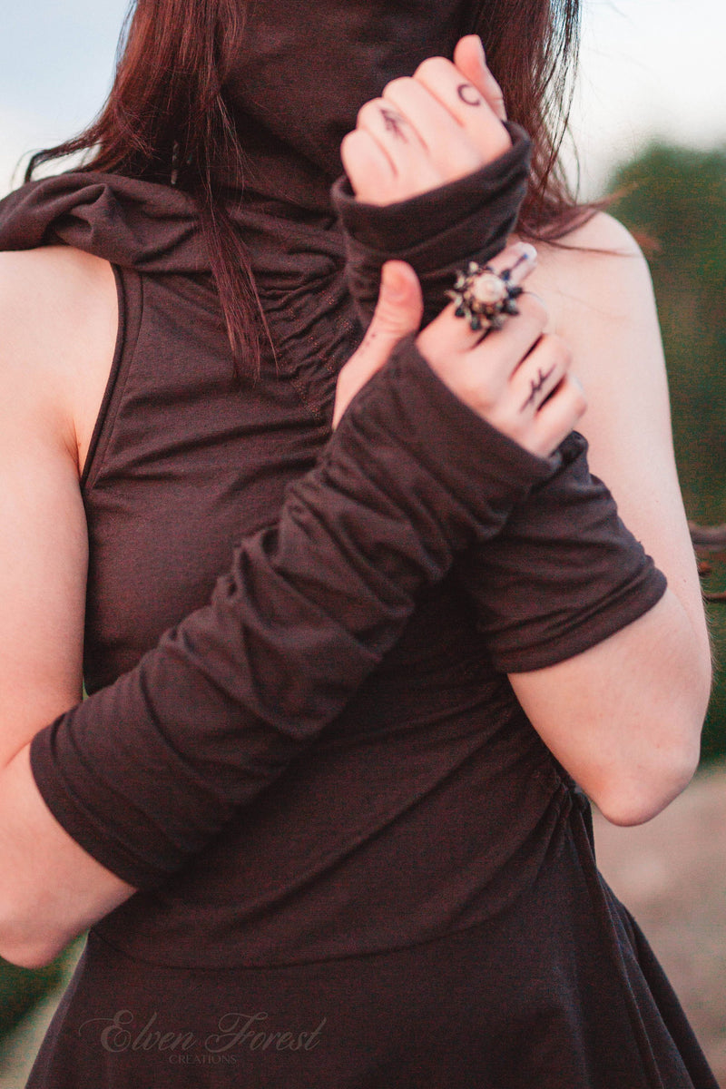 Rouched Fingerless Gloves ~ Elven Forest, festival clothing, arm warmers, fun accessories, love