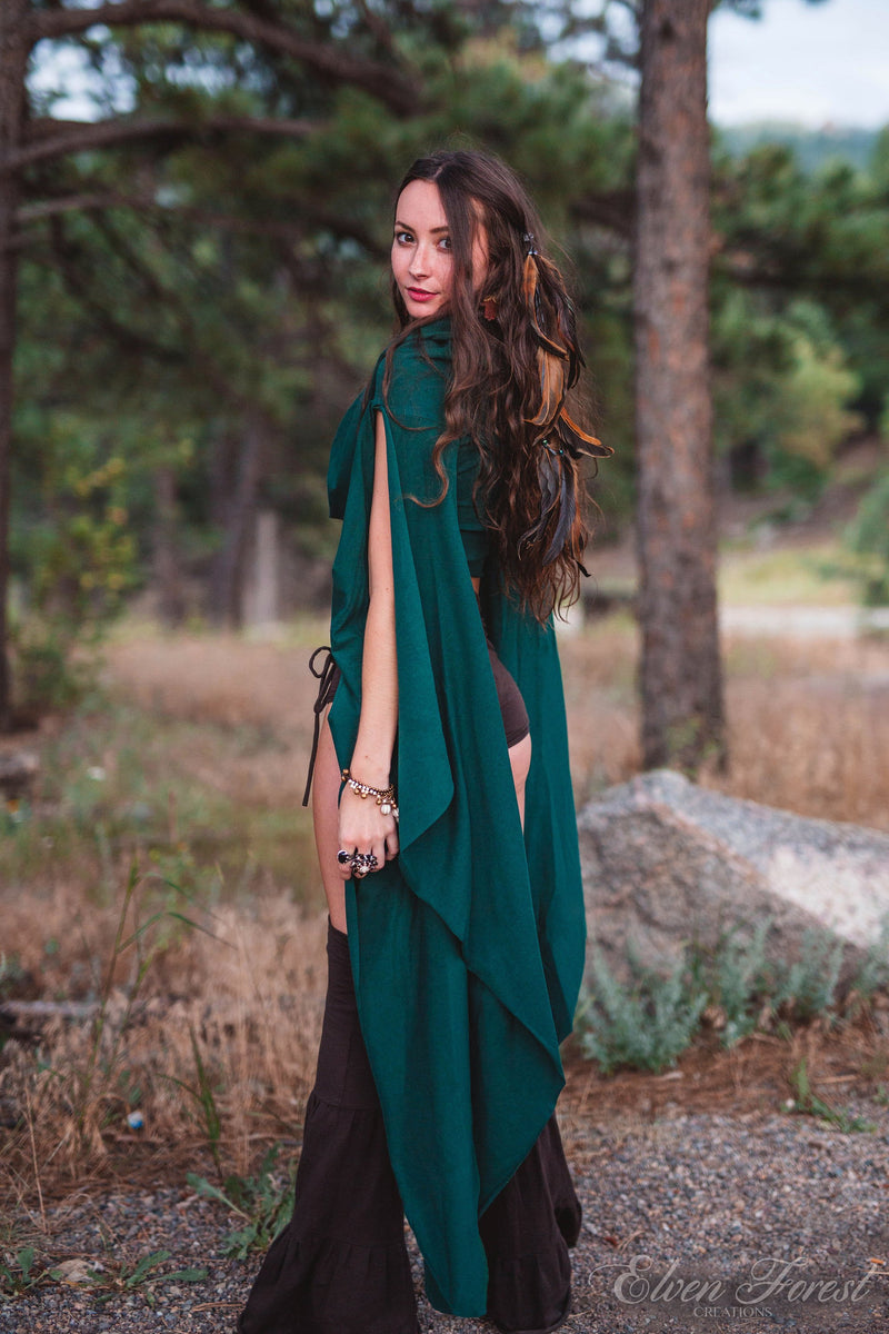 Wing Sleeve Crop top ~ With Generous Hood ~ Elven Forest, Festival Clothing, Burning Man costume, Ren Faire, Greek vibes, Goddess wear