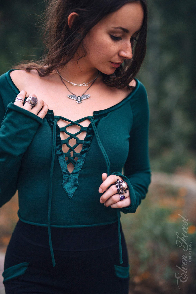 Velvet Accent Lace-Up Top
