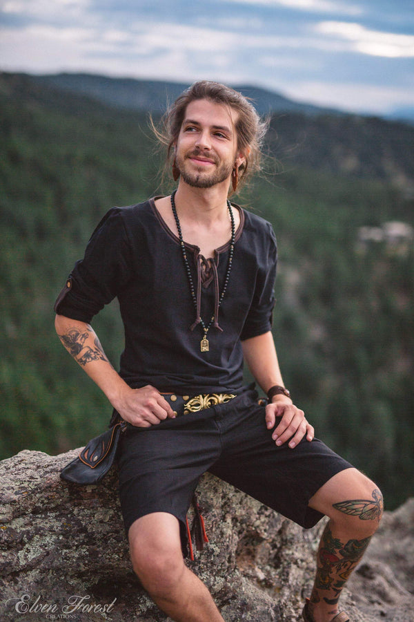 Lace Up Tab Shirt ~ Men's Long Sleeve and roll up sleeve Top ~ Elven Forest