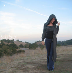 Victoria Extra Long Wrap - in Black - throw jacket hoodie - With or without sleeve puffs