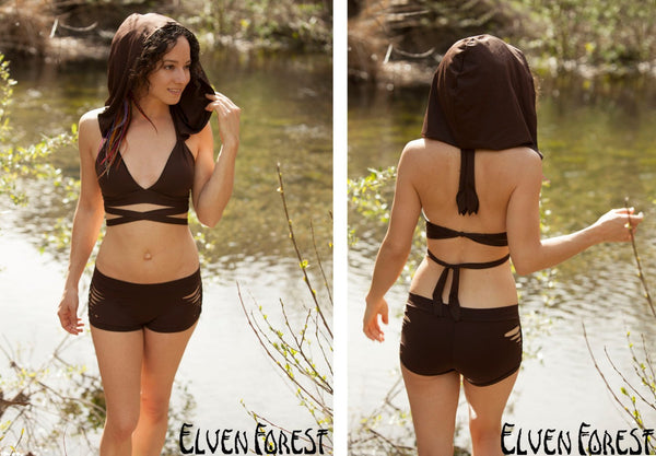 Hooded Swimsuit Bikini Top with Removable Hood ~ Elven Forest, festival swimsuit