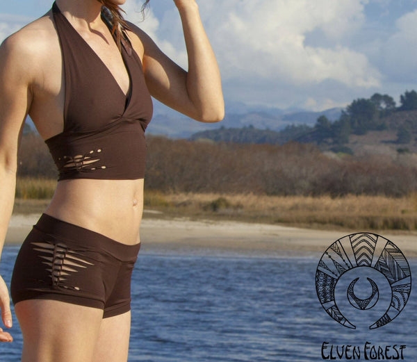 Braided Swimsuit Shorts ~ Elven Forest, festival swimsuit