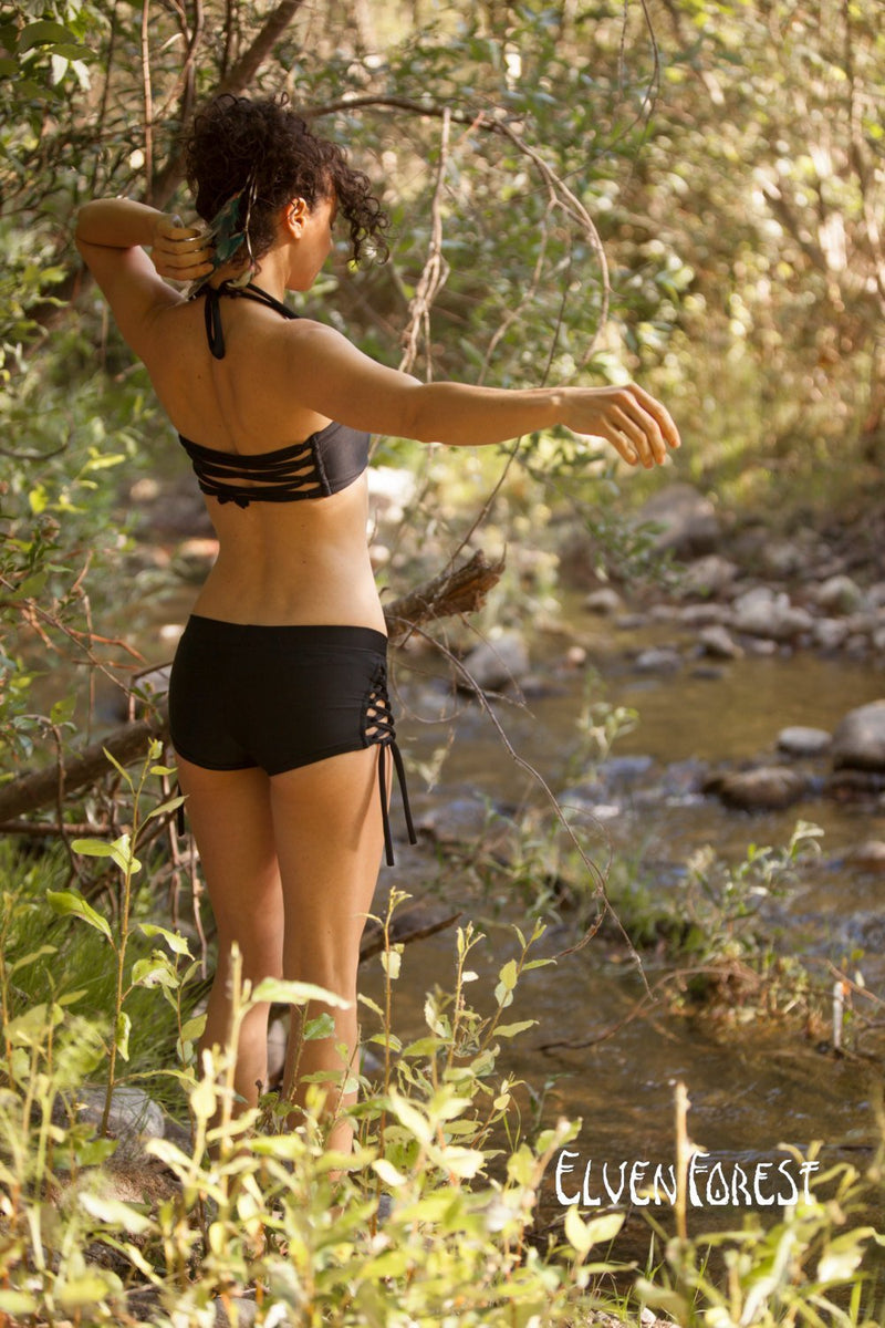 Lace up Swimsuit Shorts ~ Elven Forest, festival swimsuit