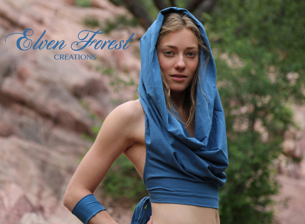 Cowl hood Crop Top ~ the original ~ Elven Forest, Festival top
