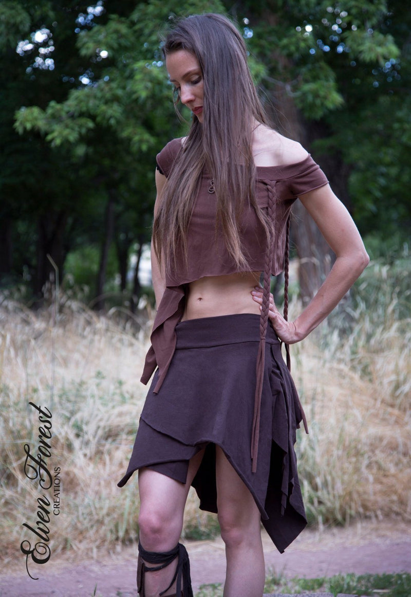 Tattered Pixie Skirt Stretchy Jersey with Grommets