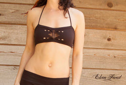 Braided Bandeau Bra - Tribal Cut Out Bra Top ~ Elven Forest, Festival Clothing