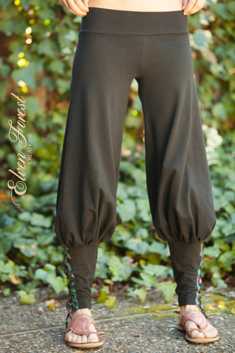 Tribal Yoga Harem Pant with lace up applique - Yoga Wear - Harem Pants