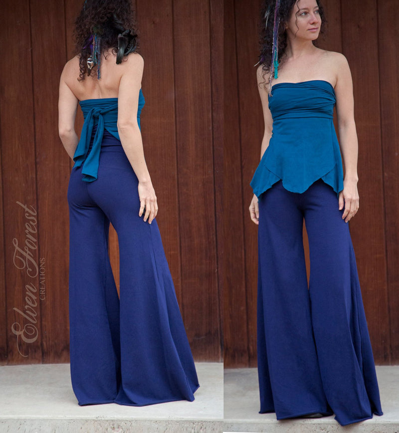 Lounge Pants with convertible high waistband or fold over skirt