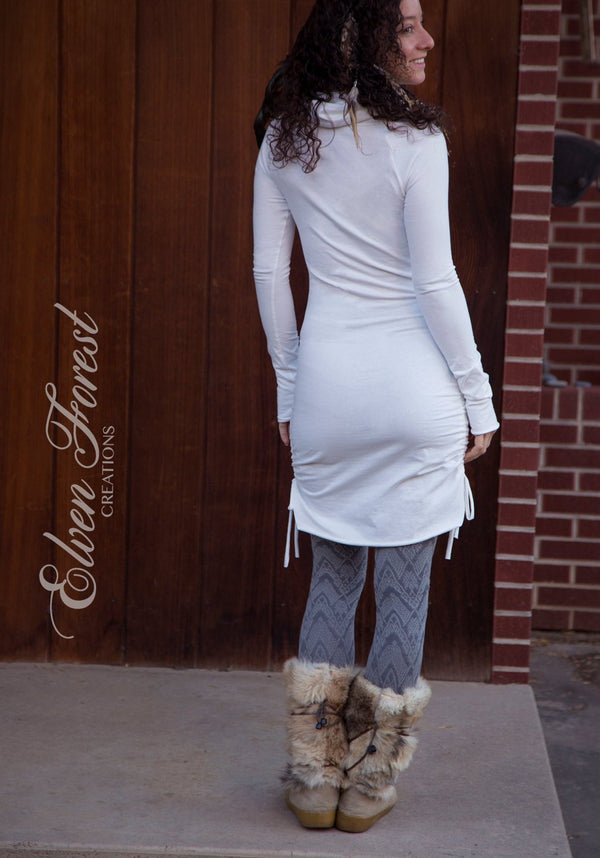 Hi-Lo Scrunchie Dress with Cowl Hood - adjustable length ~ and thumbholes