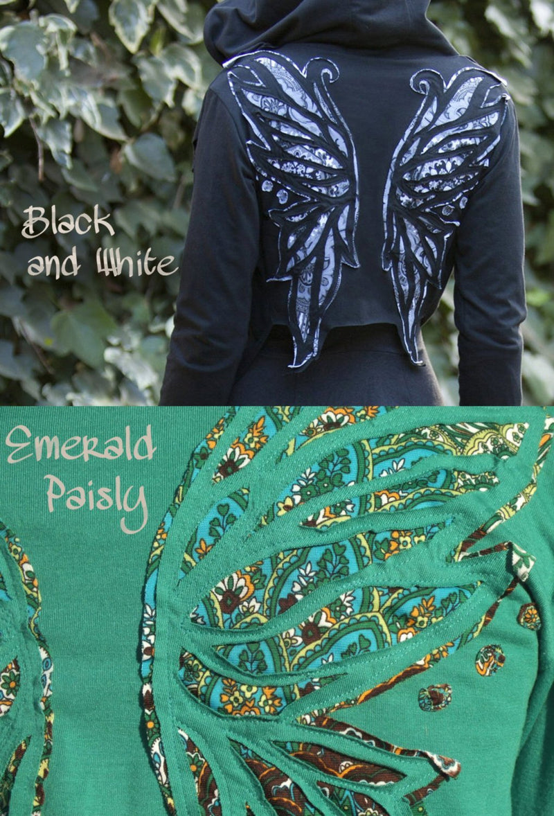 Peacock Winged Hoodie Wrap ~ Elven Forest, Festival Clothing, butterfly wings