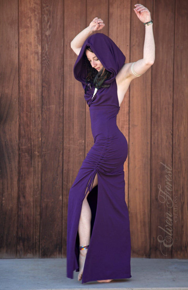 Cowl Hood Maxi Dress ~ Elven Forest, Burning Man, Festival Clothing