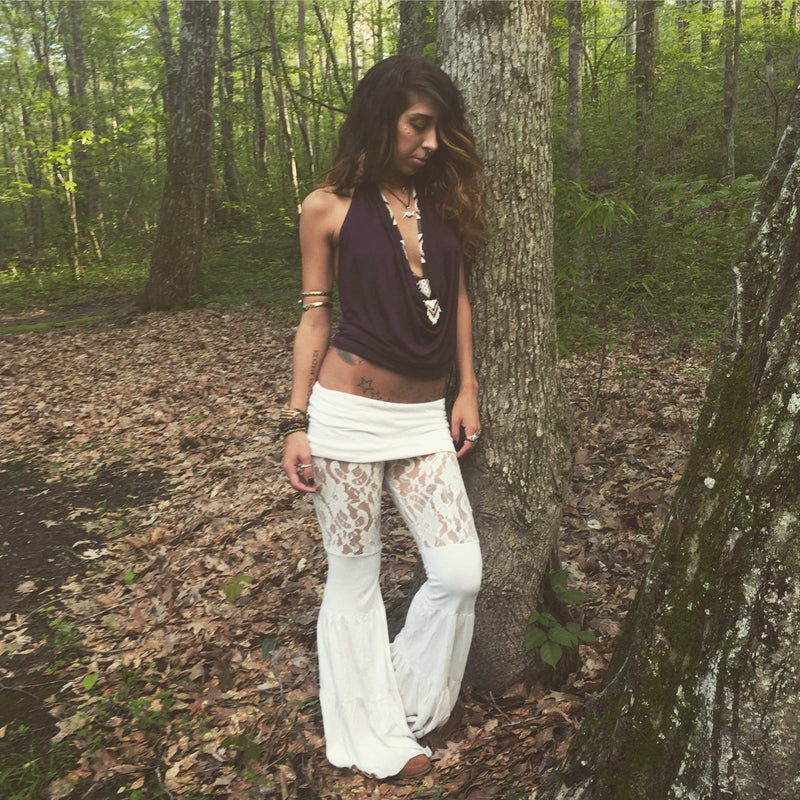 Lace Zumi Pants in Cream Off  White Ivory