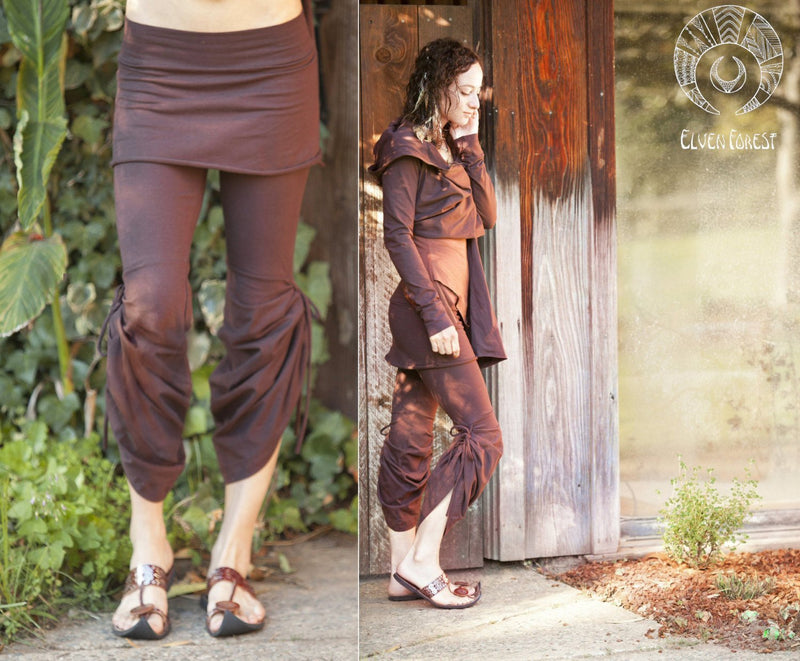 Athena Tie-Up Pants and skirt ~ Flow pants, bohemian, yoga, pixie pants, romantic, hooping pants, hula hoop, convertible skirted leggings