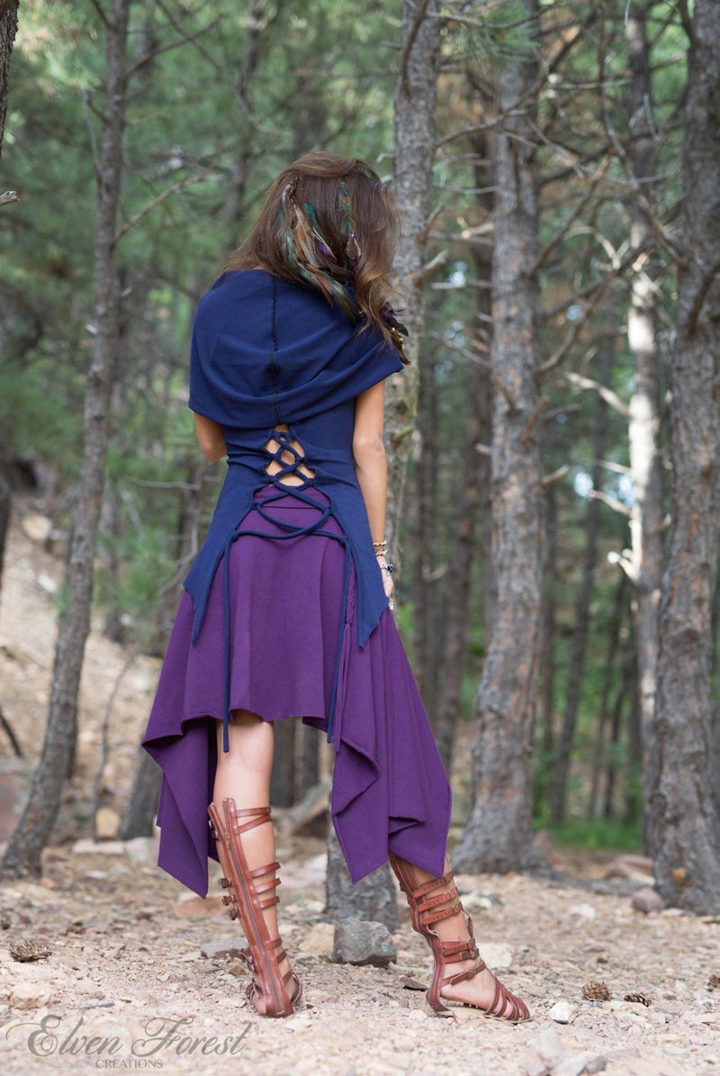 Asymmetrical Symmetry Pixie Skirt ~ with braids~  Elven Forest, festival clothing