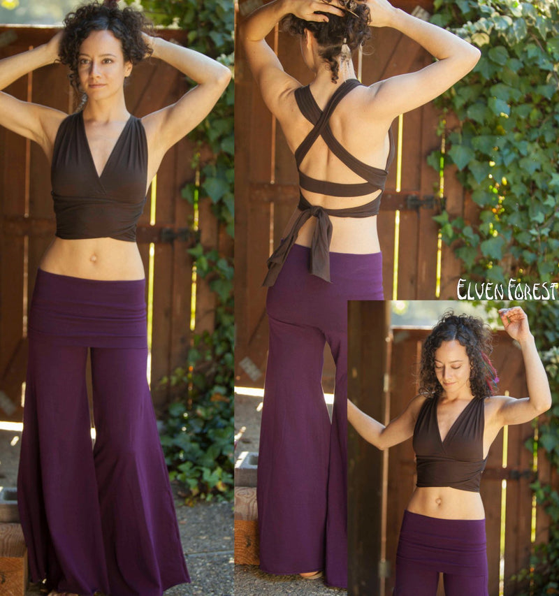 Convertible Wrap and Tie Bralette ~ Elven Forest, Festival clothing, yoga bra