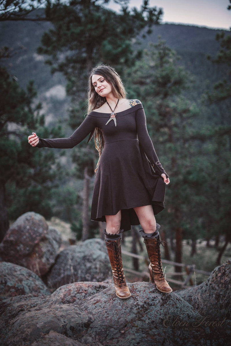 Fairy Tail-feather Dress ~ Long Sleeve with thumbholes, Fit and Flare ~ Elven Forest, Fall Dress