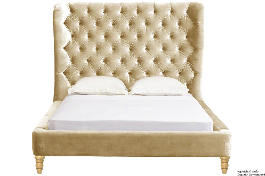 Knightsbridge Winged Velvet Upholstered Bed - Parchment