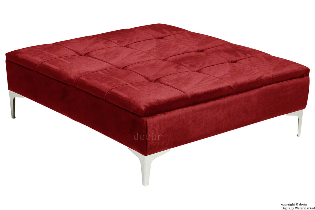 Mila Modern Buttoned Velvet Footstool Large - Red with Optional Storage
