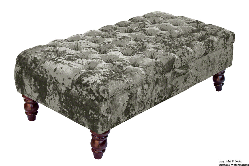 Tiffany Buttoned Crushed Velvet Footstool - Mistral with Optional Storage