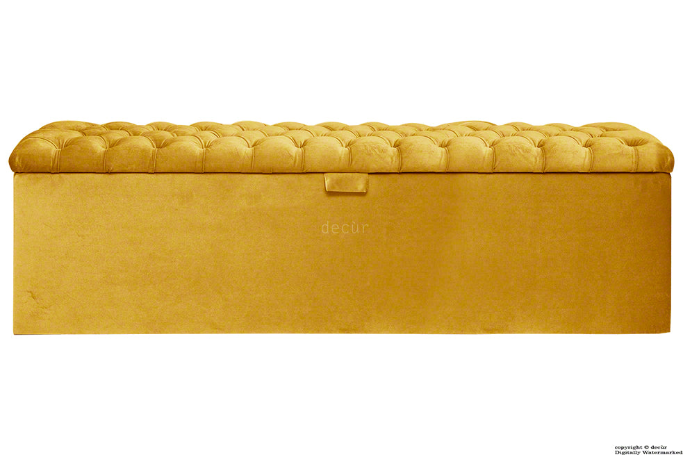 Viscount Chesterfield Velvet Ottoman - Gold