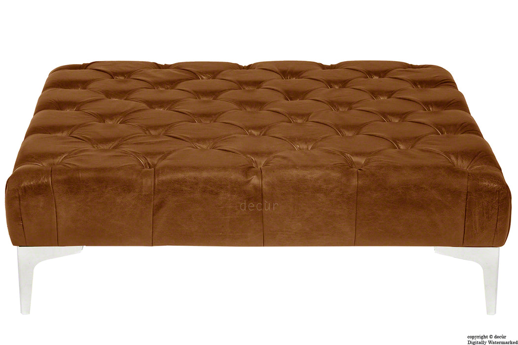 Cecil Modern Buttoned Leather Footstool - Tan