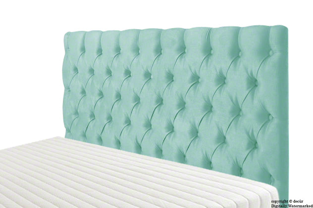 Tiffany Harrogate Buttoned Velvet Headboard - Seaspray
