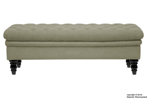 Amy Buttoned Linen Modern Tufted Footstool - Taupe